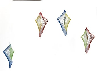 Colorful shell geometrical mobile,  Modern Hanging mobile, Kinetic Metal Art, Minimalist by Expand Life Mobile
