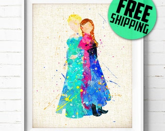 FREE SHIPPING- Frozen art print, Elsa, Anna, Dsney, Princess, poster, watercolor, illustration, nursery, kids gift, wall art, home decor 307