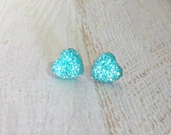 Little Aqua Sparkling Bumpy Druzy Valentine's Day Heart Stud Earrings with Surgical Steel Posts (SE13)