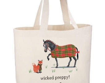 Wicked Tartan Beach Tote by Chatham Ivy! equestrian - horse - fox - jumbo tote