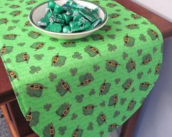 """36"""" St Patricks Day Table Runner Shamrock Table Runner Reversible Clovers Leprechaun Hat Table Runner Luck of the Irish table runner"""