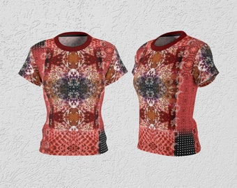 Red Patchwork Boho Dressy T-Shirt, Mixed Print Burgundy Red Amber Grey Black Patterned Women's Top, Mixed Pattern  Design T-Shirt