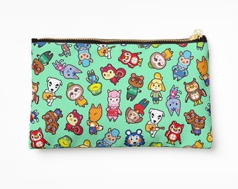 Chibi Animal Crossing Pattern ~ Wild World / New Leaf ~ Pencil Case / Cosmetic Bag