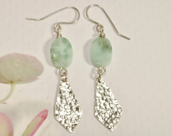 Sterling Silver Earrings with Amazonite Oval Beads