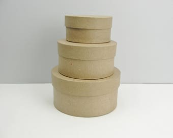 """Small round paper mache stacking boxes graduated sizes set of 3 (4"""", 5"""" and 6"""")"""