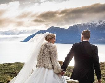 Exotique Bridal Fur Jacket in Snow