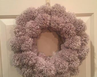 Handmade pom pom wreath