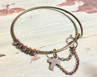 Boho Pewter Cross Bangle with Chain and Rhinestones   Assemblage jewelry