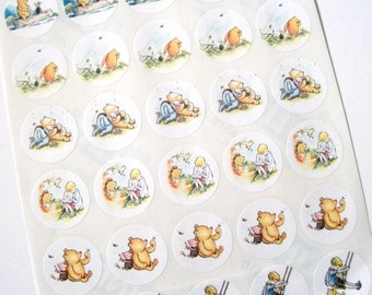 Winnie the Pooh, Sticker Sheet, Baby Shower, Birthday Party, Favor Bag Stickers, Honey Jar Labels, 30 Stickers, Medium, 1.5 Inches