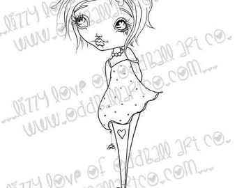 Digi Stamp Digital Instant Download Stamps B-Cute Whimsical Big Eye Girl w/ Sentiments ~ Bella Image No. 218 by Lizzy Love