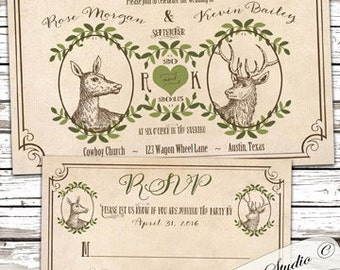 Deer wedding invitations, the hunt is over invitation, western wedding invitations, mountain woodsy invitation, barn wedding invitation.
