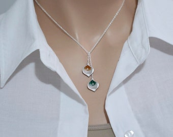 Calla Lily Necklace, Calla Lily and Swarovski Crystal Necklace in Sterling Silver Chain, Bridesmaid Gift, Bridesmaid Necklace Gift for Her