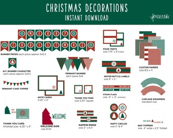 Christmas Printables - Christmas Decorations  - Printable Party Pack - Christmas Party Decorations - Red and Green