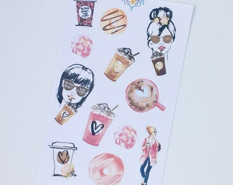 Coffee Time planner stickers, fashion girl decorative stickers, scrapbooking, journalling, tn stickers, bullet journalling stickers - DEC007