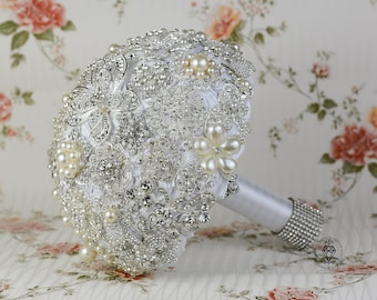 Wedding bouquet White Wedding dress Crystal silver brooch bouquet Butterfly bouquet bridal pearl Wedding Accessories Silver bouquet broach
