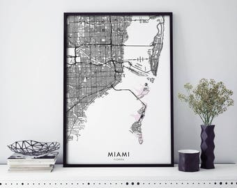 Miami, Florida, USA City Map Print Wall Art Poster | A4 A3 A2