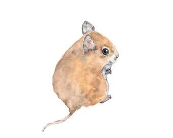 Woodland nursery wall art, nursery animal art, baby animal prints, baby animal nursery, watercolor mouse painting, mouse print, -5X7