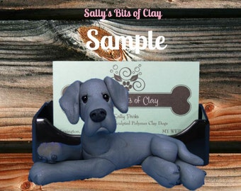 Blue Great Dane dog natural ears Business Card Holder / Iphone / Cell phone / Post it Notes OOAK sculpture by Sally's Bits of Clay