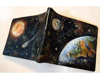 Outer Space - Earth - Sun - Moon -Leather Bifold Wallet - Handcrafted Wallet -