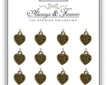 Always & Forever - Vintage Heart Charms - Thank you