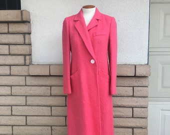 Vintage Hot Pink Mohair Coat 70s Fuzzy Full Length Coat Size Medium
