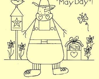 "Primitive Stitchery E-Pattern Snowman by Month May, ""Wishing you sunbeams to warm your ""May Day""!"""