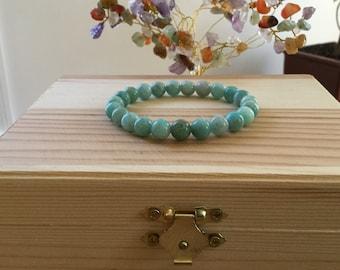 "Handmade Genuine Amazonite Bracelet, Natural Russian Amazonite Gemstone Stretch 7"" Bracelet,Calming,Improve Health, Protection,Energy"