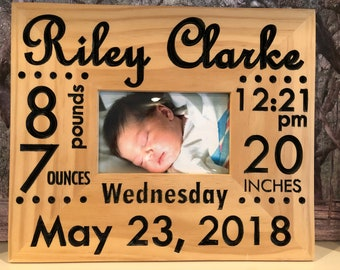 Personalized Birth Announcement Picture Frame w/ Stats - Wood Engraved