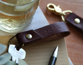 Personalised leather key fob  / key chain, hand made