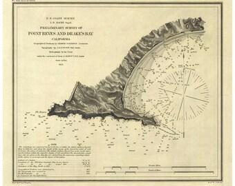 Point Reyes Drakes Bay 1855 Nautical Map  -  PC Harbors 629 Reprint California