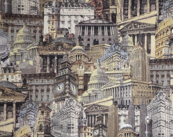 REMNANT--Gray and Taupe City Building Collage Print Pure Cotton Fabric--1.5 Yard