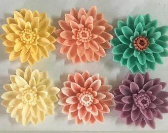 6 pcs of  COLORS OF resin chrysanthemum cabochon-55mm-0063-you can choose the color