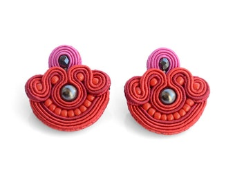 Red stud earrings red pink studs handmade earrings unique gift for woman soutache earrings red fabric earrings with beads tropical style