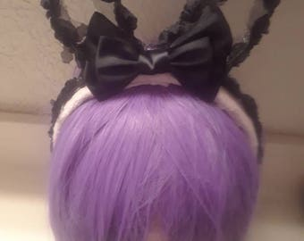 Pink and Black Rabbit Ear Headband