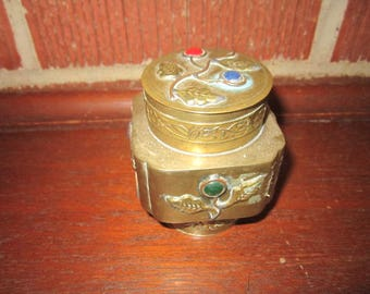 Vintage Beautiful Chinese Export Brass Jar with Gemstone Cabochons