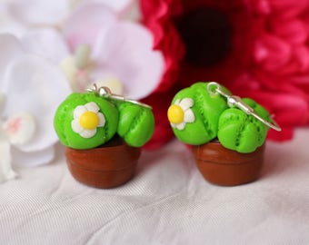 Green cactus with flower earrings