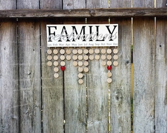 Family Birthday Board, Mothers Day, Family Calendar, Family Celebrations Board, Family Birthday Sign, Birthday Reminder, Calendar Sign