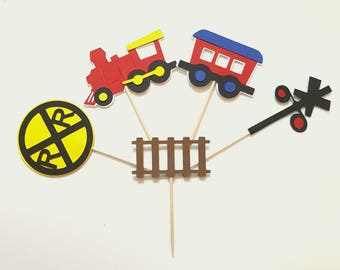 Train Theme Cupcake Toppers for Boys Birthdays, 20 pcs, 1st Birthdays, Train Theme Baby Showers, Railroad Crossing, Boys Party Decor