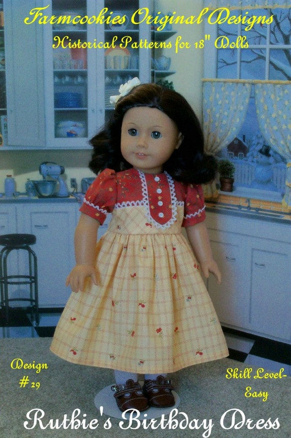 """PDF Sewing Pattern / Ruthie's Birthday Dress/ Fits American Girl® or other 18"""" Dolls"""