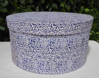 Blue patterned band box, 19th century repro
