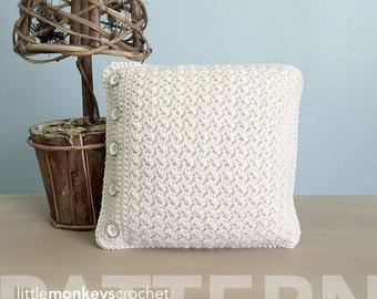 Crochet Throw Pillow Pattern (Buttoned Throw Pillow Crochet Pattern by Little Monkeys Crochet) PDF Crochet Throw Pillow Crochet Pattern