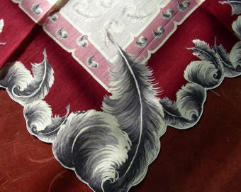 Vintage Handerchief Hanky Hankie * MINT WITH TAG * Gorgeous Feather Plumes * Hand Painted