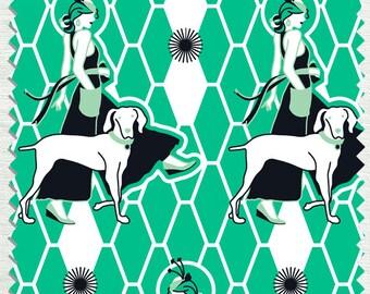 Fabric in Walking Miss Gypsy Pattern Mint color