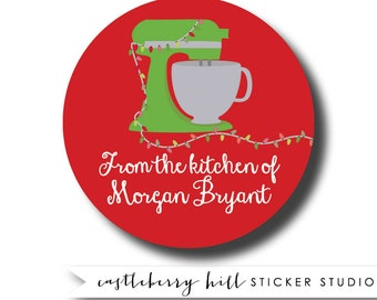 Custom stickers, from the kitchen of, Christmas stickers, Christmas gift tags, personalized sticker, round labels, custom gift tags