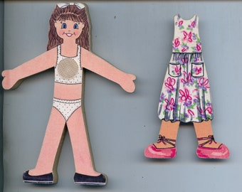 Crayon Kids Wooden Paper Doll with one dress