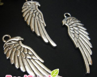 CH-ME-05022- Nickel Free, Antique silver, angel wings, 6 pcs