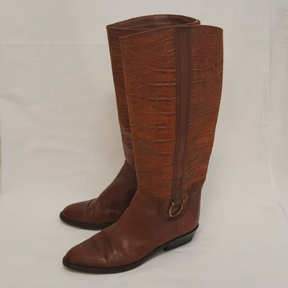 Leather Size Riding Tan 1990s Crocodile High Embossed Vintage Skin Italian Brown Knee 6 Boots 5 0qxw74B
