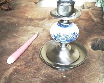 Vintage Delft Candle Holder Cobalt Blue Delft Floral Porcelain Metal Pedestal Base Ceramic Candle Holder Country Decor Collectible Delft