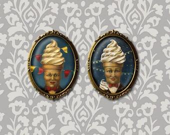 Mr. Softee Portrait Brooch - Mr. Softee Pin - Retro Food Icon - Ice Cream Brooch -Anthropomorphic Food