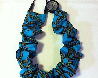 Teal Diamonds and Circles  Shapes Stethoscope Cover